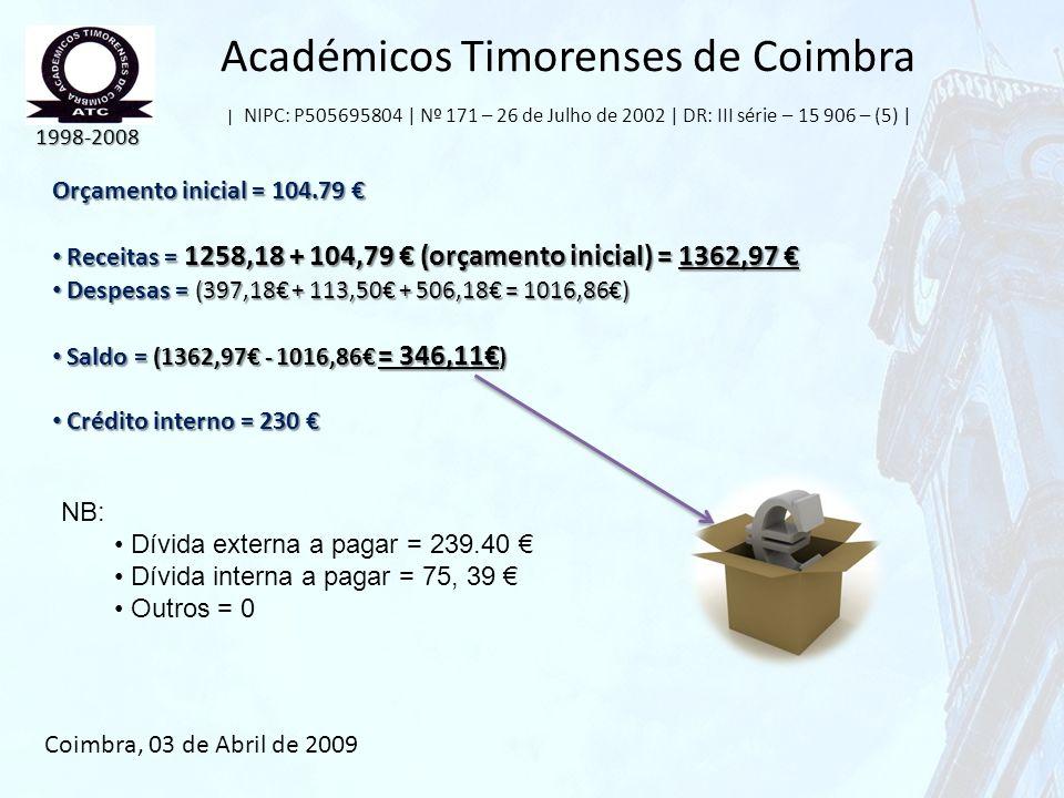 Académicos Timorenses de Coimbra | NIPC: P505695804 | Nº 171 – 26 de Julho de 2002 | DR: III série – 15 906 – (5) | Orçamento inicial = 104.79 Orçamen