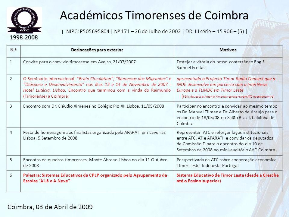 Académicos Timorenses de Coimbra | NIPC: P505695804 | Nº 171 – 26 de Julho de 2002 | DR: III série – 15 906 – (5) | 1998-2008 Coimbra, 03 de Abril de