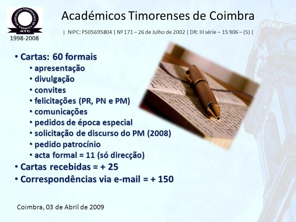 Académicos Timorenses de Coimbra | NIPC: P505695804 | Nº 171 – 26 de Julho de 2002 | DR: III série – 15 906 – (5) | Cartas: 60 formais Cartas: 60 form
