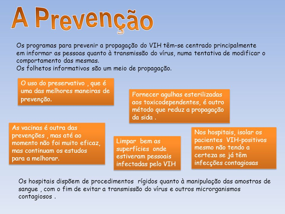 Os programas para prevenir a propagação do VIH têm-se centrado principalmente em informar as pessoas quanto à transmissão do vírus, numa tentativa de
