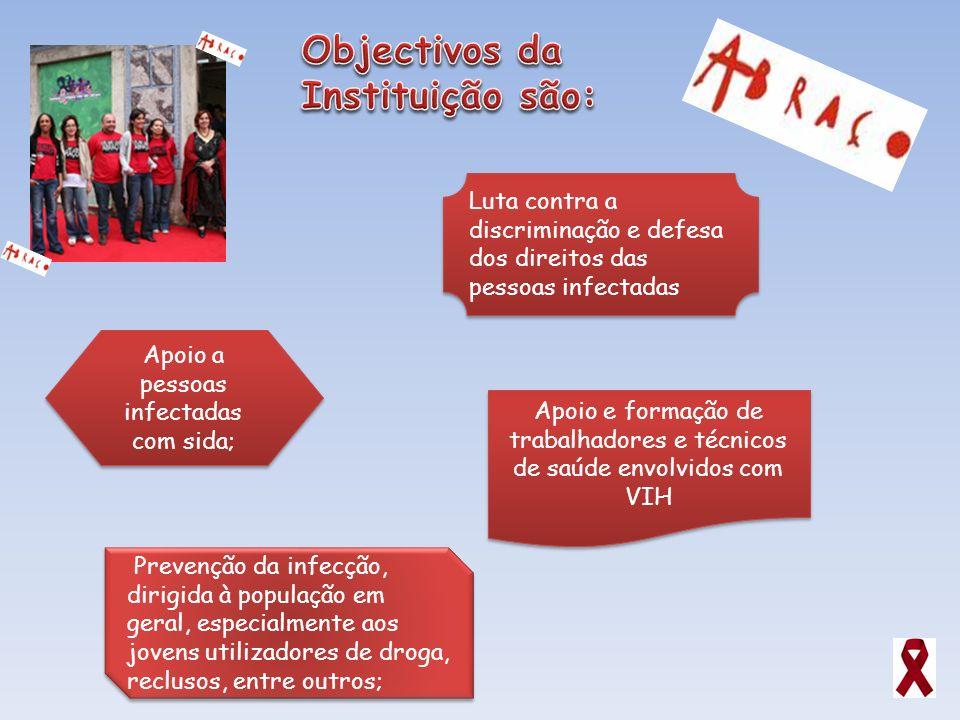 Apoio a pessoas infectadas com sida; Apoio e formação de trabalhadores e técnicos de saúde envolvidos com VIH Prevenção da infecção, dirigida à popula