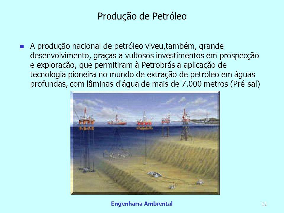 Engenharia Ambiental 11 Produção de Petróleo A produção nacional de petróleo viveu,também, grande desenvolvimento, graças a vultosos investimentos em