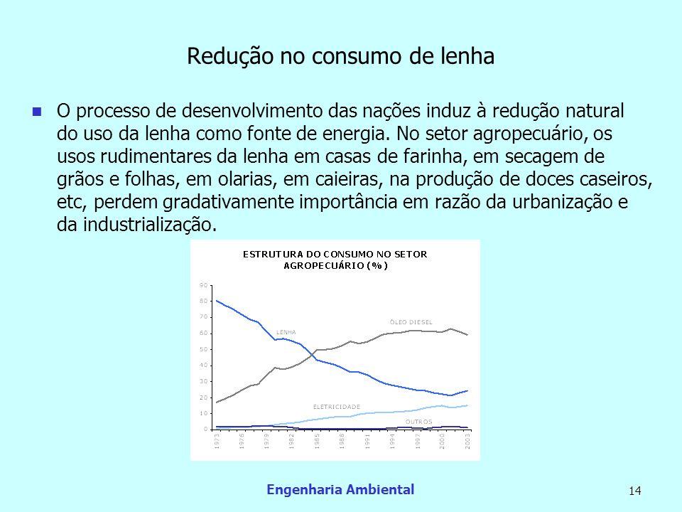 Engenharia Ambiental 14 Redução no consumo de lenha O processo de desenvolvimento das nações induz à redução natural do uso da lenha como fonte de ene
