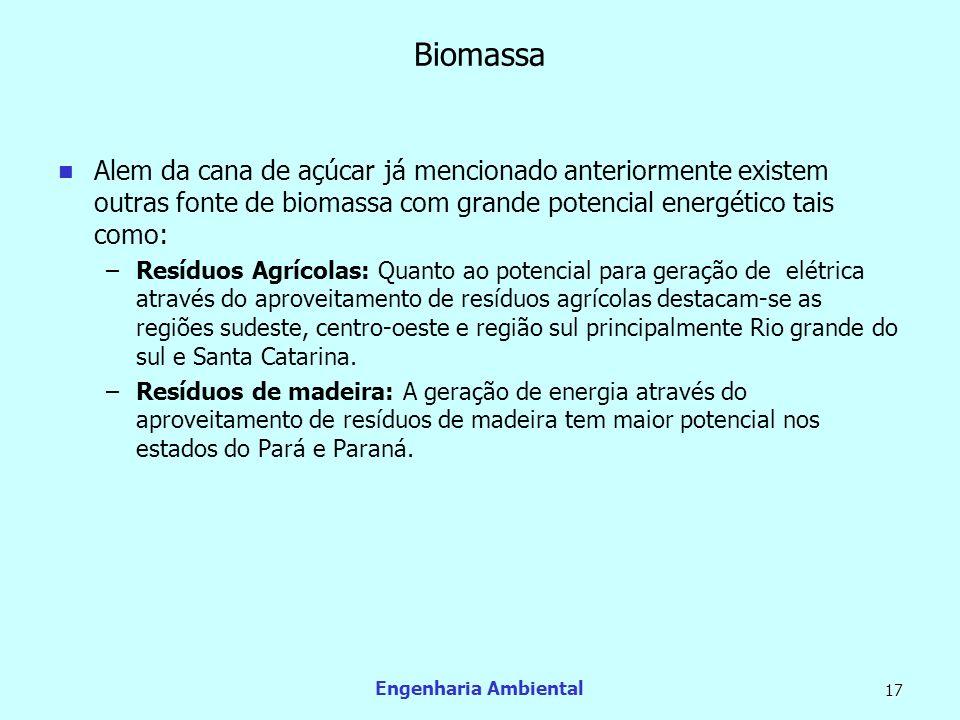 Engenharia Ambiental 17 Biomassa Alem da cana de açúcar já mencionado anteriormente existem outras fonte de biomassa com grande potencial energético t
