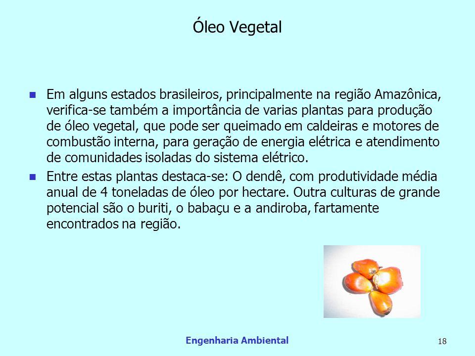 Engenharia Ambiental 18 Óleo Vegetal Em alguns estados brasileiros, principalmente na região Amazônica, verifica-se também a importância de varias pla