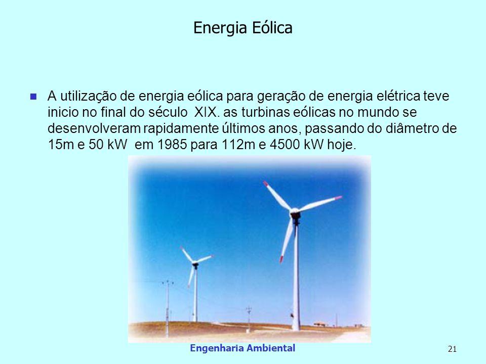 Engenharia Ambiental 21 Energia Eólica A utiliza ç ão de energia e ó lica para gera ç ão de energia el é trica teve inicio no final do s é culo XIX. a
