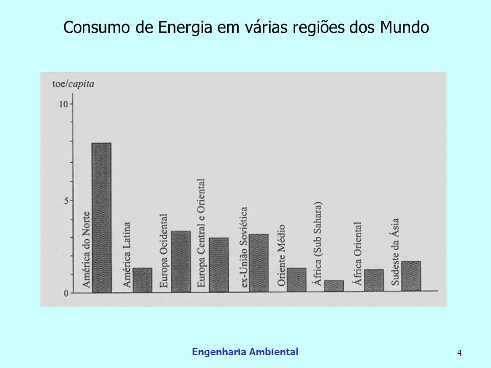 Engenharia Ambiental 15 Energia Elétrica Seu parque gerador de eletricidade foi aumentado de 11 GW em 1970, para 30,2 GW em 1979 e para 82,5 GW em 2002 (a capacidade instalada hidráulica, de 65,3 GW em 2002.