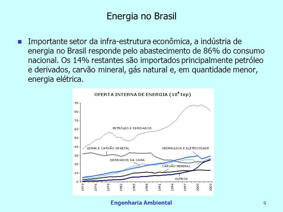 Engenharia Ambiental 9 Energia no Brasil Importante setor da infra-estrutura econômica, a indústria de energia no Brasil responde pelo abastecimento d