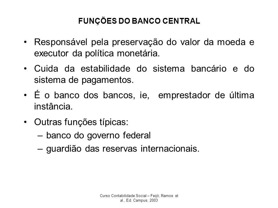 Curso Contabilidade Social – Feijó, Ramos et al., Ed. Campus, 2003 FUNÇÕES DO BANCO CENTRAL Responsável pela preservação do valor da moeda e executor