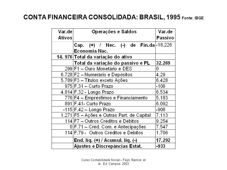Curso Contabilidade Social – Feijó, Ramos et al., Ed. Campus, 2003 CONTA FINANCEIRA CONSOLIDADA: BRASIL, 1995 Fonte: IBGE