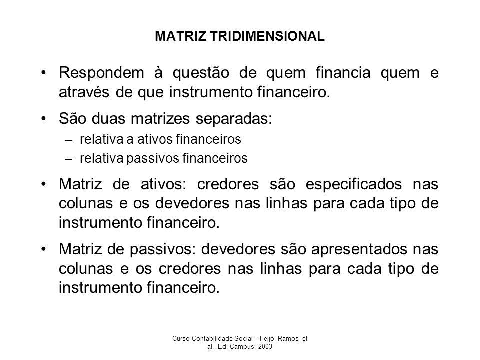 Curso Contabilidade Social – Feijó, Ramos et al., Ed. Campus, 2003 MATRIZ TRIDIMENSIONAL Respondem à questão de quem financia quem e através de que in