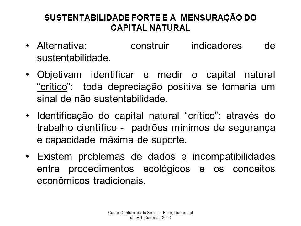 Curso Contabilidade Social – Feijó, Ramos et al., Ed. Campus, 2003 SUSTENTABILIDADE FORTE E A MENSURAÇÃO DO CAPITAL NATURAL Alternativa: construir ind