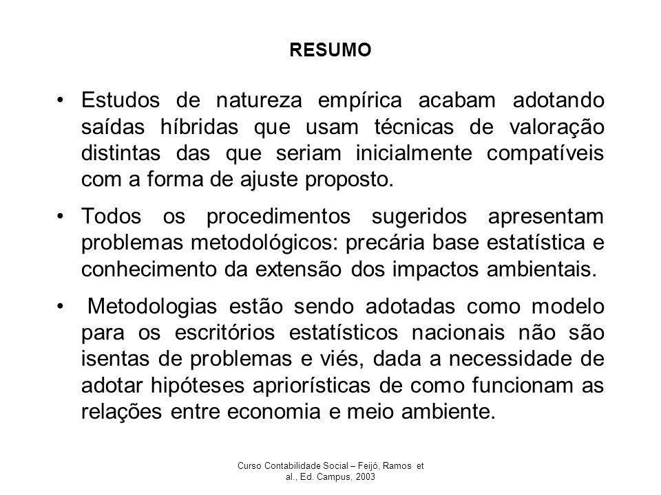 Curso Contabilidade Social – Feijó, Ramos et al., Ed. Campus, 2003 RESUMO Estudos de natureza empírica acabam adotando saídas híbridas que usam técnic