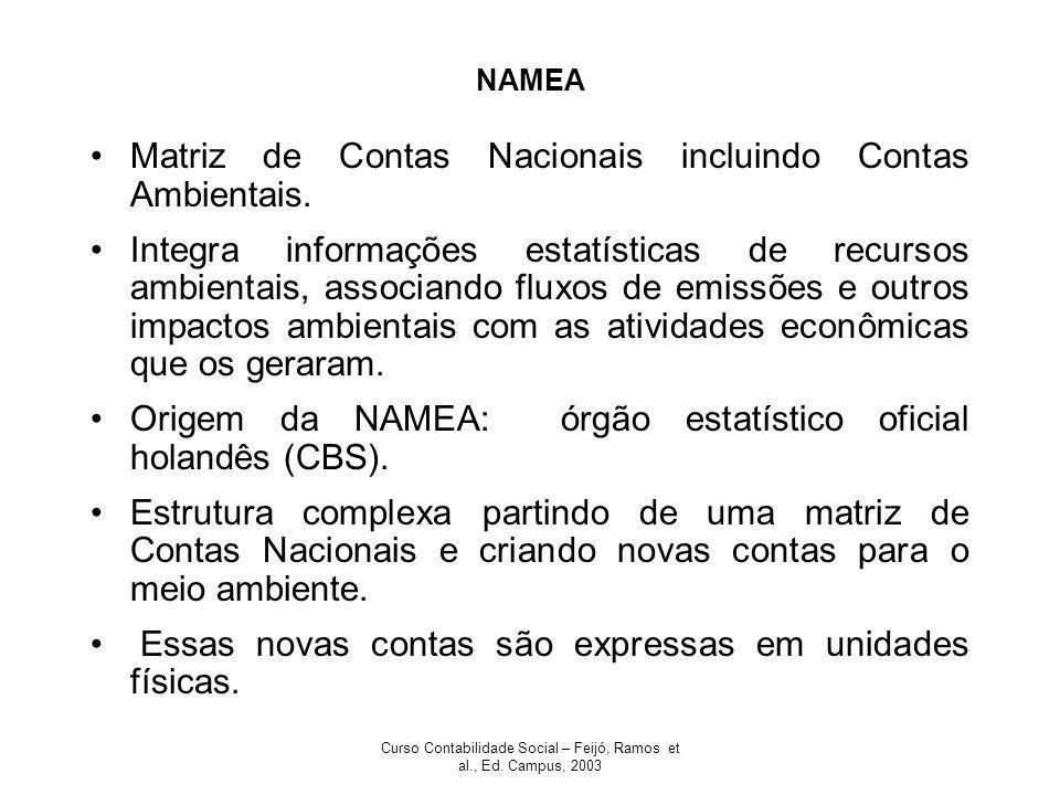Curso Contabilidade Social – Feijó, Ramos et al., Ed. Campus, 2003 NAMEA Matriz de Contas Nacionais incluindo Contas Ambientais. Integra informações e