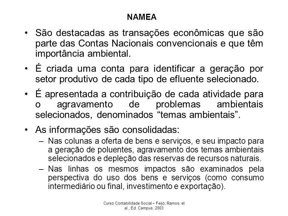 Curso Contabilidade Social – Feijó, Ramos et al., Ed. Campus, 2003 NAMEA São destacadas as transações econômicas que são parte das Contas Nacionais co