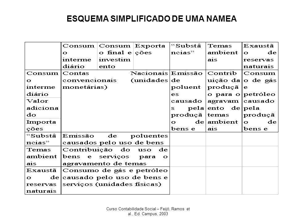 Curso Contabilidade Social – Feijó, Ramos et al., Ed. Campus, 2003 ESQUEMA SIMPLIFICADO DE UMA NAMEA