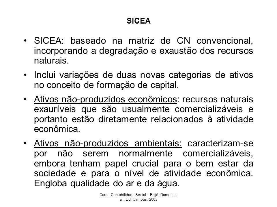 Curso Contabilidade Social – Feijó, Ramos et al., Ed. Campus, 2003 SICEA SICEA: baseado na matriz de CN convencional, incorporando a degradação e exau