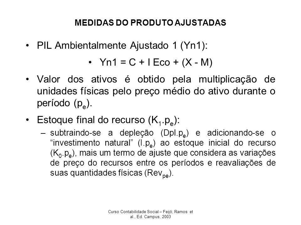 Curso Contabilidade Social – Feijó, Ramos et al., Ed. Campus, 2003 MEDIDAS DO PRODUTO AJUSTADAS PIL Ambientalmente Ajustado 1 (Yn1): Yn1 = C + I Eco +