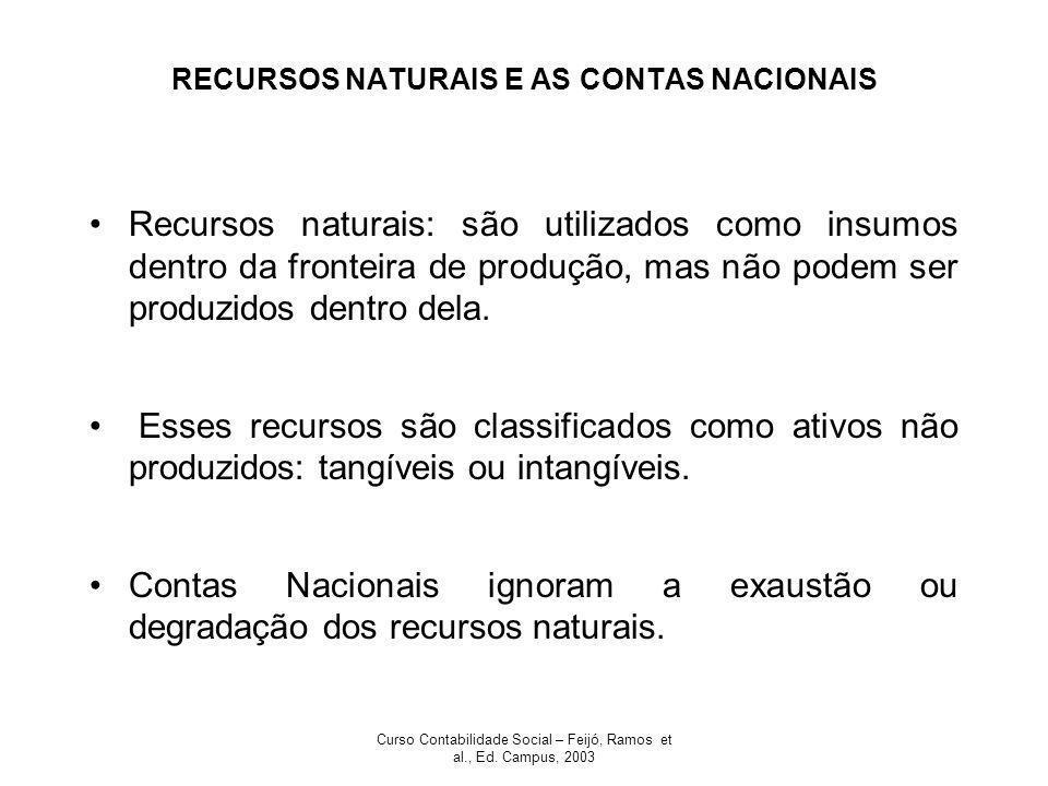 Curso Contabilidade Social – Feijó, Ramos et al., Ed. Campus, 2003 RECURSOS NATURAIS E AS CONTAS NACIONAIS Recursos naturais: são utilizados como insu