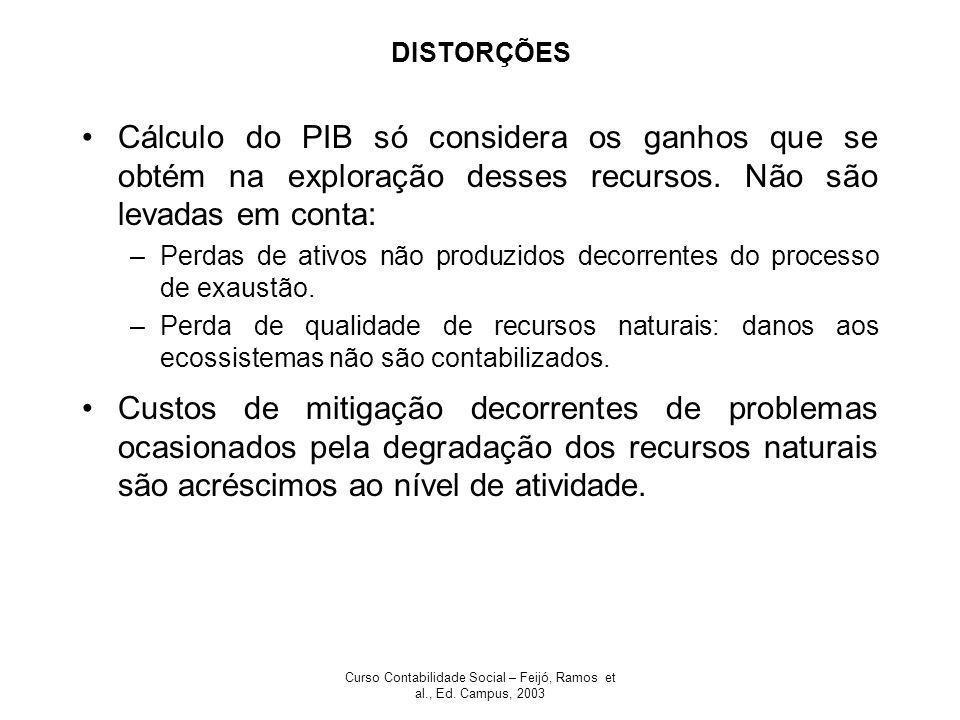 Curso Contabilidade Social – Feijó, Ramos et al., Ed. Campus, 2003 DISTORÇÕES Cálculo do PIB só considera os ganhos que se obtém na exploração desses