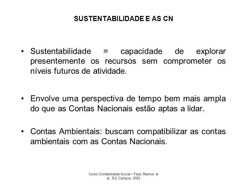 Curso Contabilidade Social – Feijó, Ramos et al., Ed. Campus, 2003 SUSTENTABILIDADE E AS CN Sustentabilidade = capacidade de explorar presentemente os