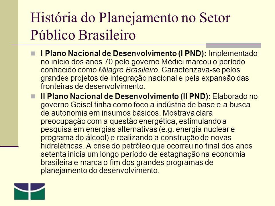 História do Planejamento no Setor Público Brasileiro I Plano Nacional de Desenvolvimento (I PND): Implementado no início dos anos 70 pelo governo Médici marcou o período conhecido como Milagre Brasileiro.
