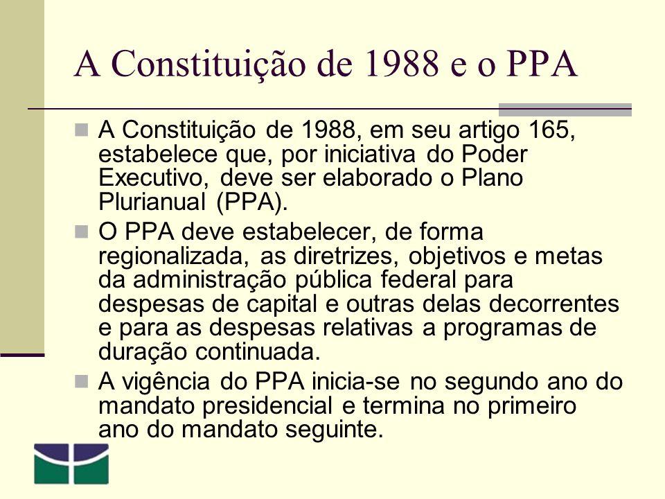 A Constituição de 1988 e o PPA A Constituição de 1988, em seu artigo 165, estabelece que, por iniciativa do Poder Executivo, deve ser elaborado o Plano Plurianual (PPA).