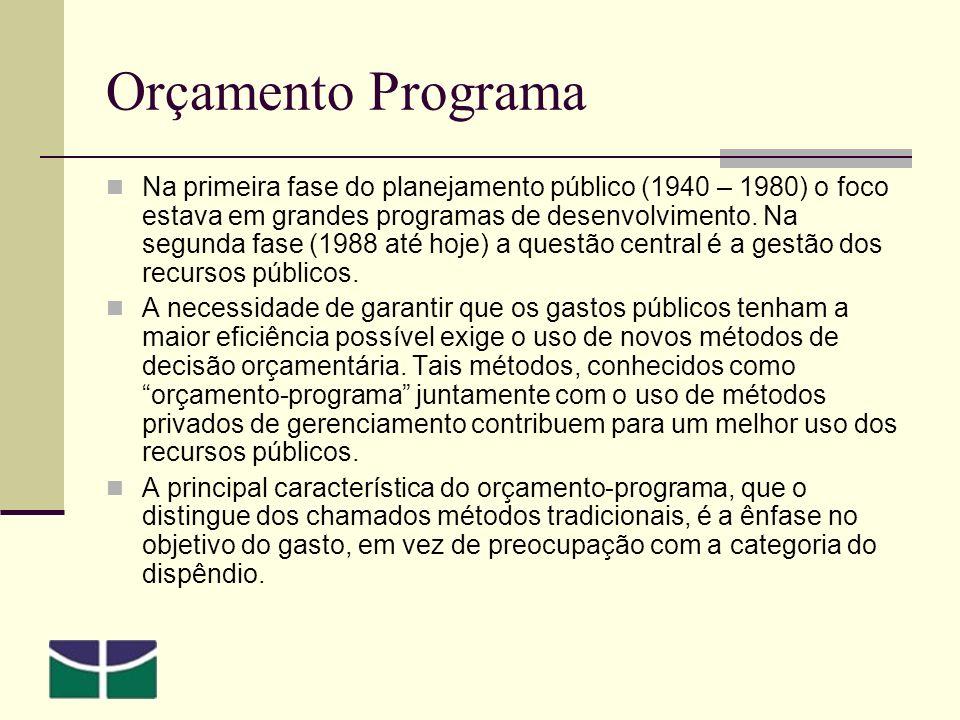 Orçamento Programa Na primeira fase do planejamento público (1940 – 1980) o foco estava em grandes programas de desenvolvimento.