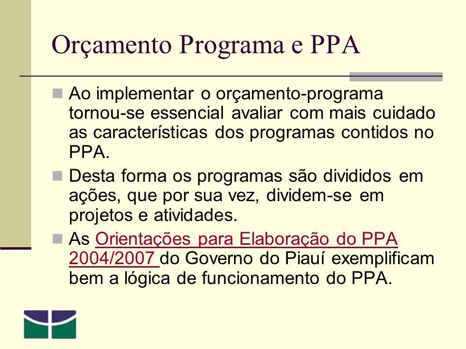 Orçamento Programa e PPA Ao implementar o orçamento-programa tornou-se essencial avaliar com mais cuidado as características dos programas contidos no PPA.