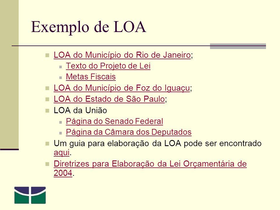 Exemplo de LOA LOA do Município do Rio de Janeiro; LOA do Município do Rio de Janeiro Texto do Projeto de Lei Metas Fiscais LOA do Município de Foz do Iguaçu; LOA do Município de Foz do Iguaçu LOA do Estado de São Paulo; LOA do Estado de São Paulo LOA da União Página do Senado Federal Página da Câmara dos Deputados Um guia para elaboração da LOA pode ser encontrado aqui.