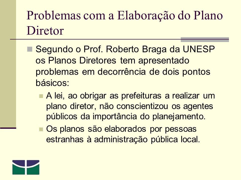 Problemas com a Elaboração do Plano Diretor Segundo o Prof.