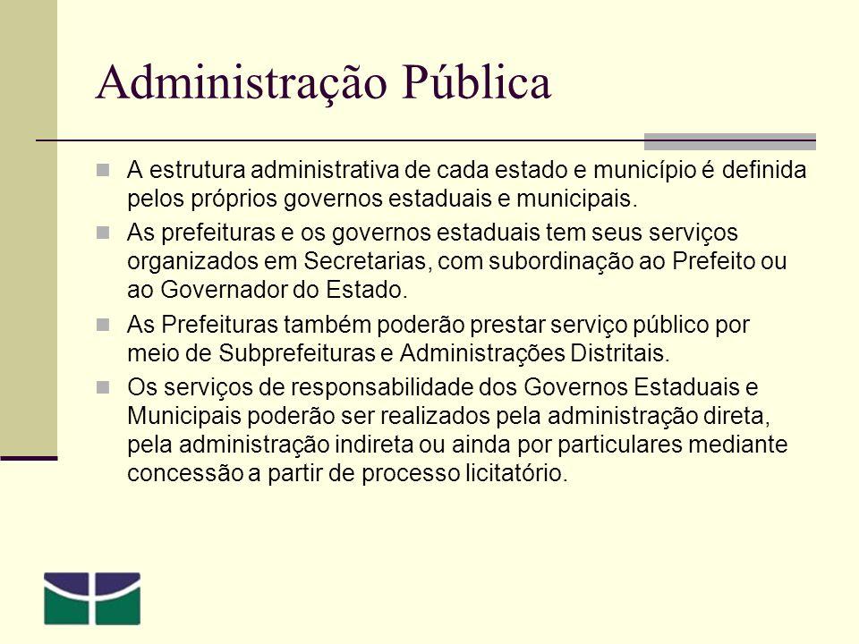 Administração Pública A estrutura administrativa de cada estado e município é definida pelos próprios governos estaduais e municipais.