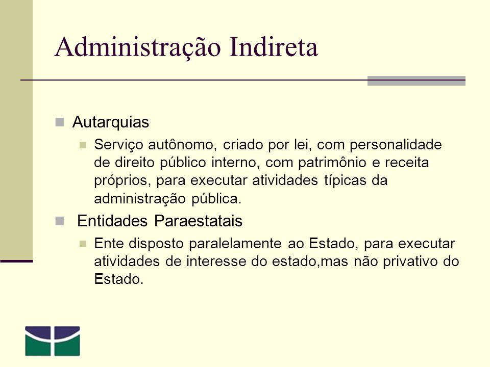 Administração Indireta Autarquias Serviço autônomo, criado por lei, com personalidade de direito público interno, com patrimônio e receita próprios, para executar atividades típicas da administração pública.