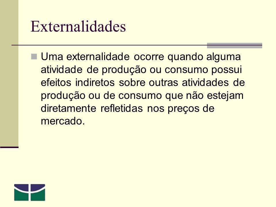 Externalidades Uma externalidade ocorre quando alguma atividade de produção ou consumo possui efeitos indiretos sobre outras atividades de produção ou de consumo que não estejam diretamente refletidas nos preços de mercado.