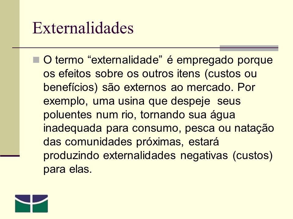 Externalidades O termo externalidade é empregado porque os efeitos sobre os outros itens (custos ou benefícios) são externos ao mercado.