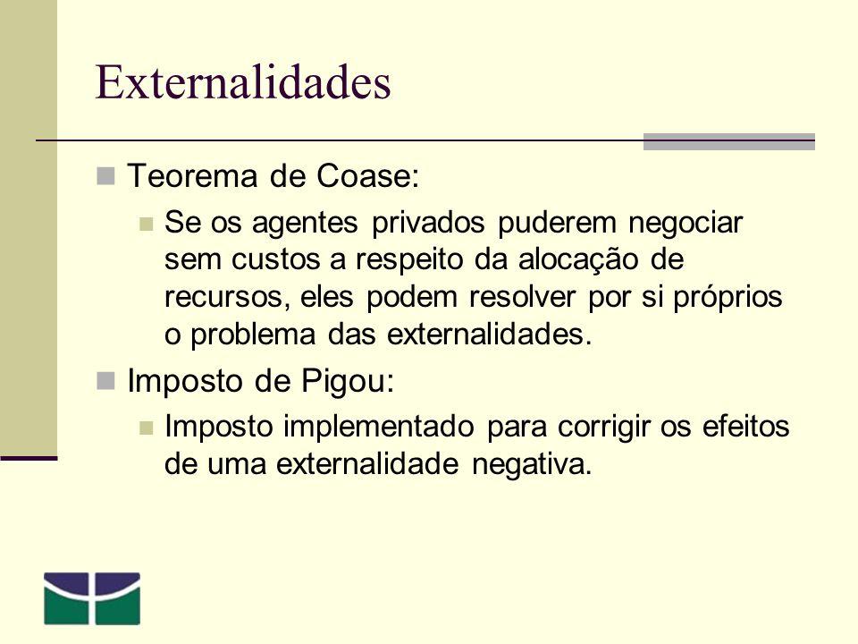 Externalidades Teorema de Coase: Se os agentes privados puderem negociar sem custos a respeito da alocação de recursos, eles podem resolver por si próprios o problema das externalidades.