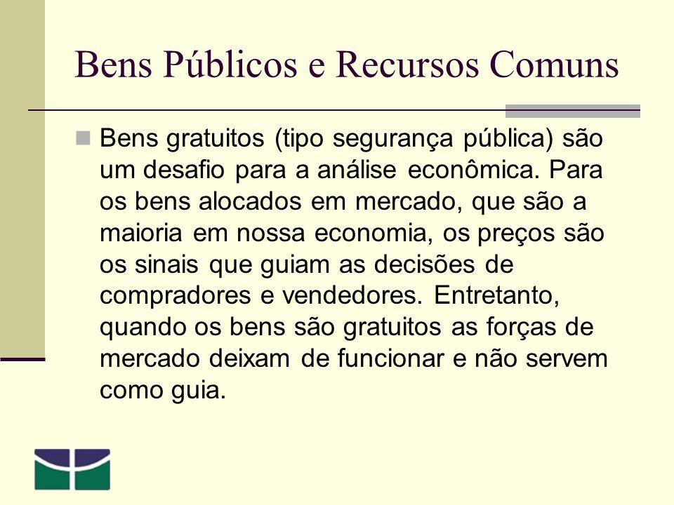 Bens Públicos e Recursos Comuns Bens gratuitos (tipo segurança pública) são um desafio para a análise econômica.