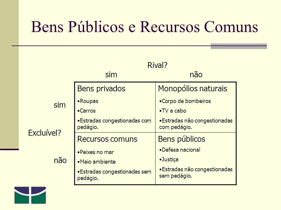 Bens Públicos e Recursos Comuns Bens privadosMonopólios naturais Recursos comunsBens públicos Excluível.