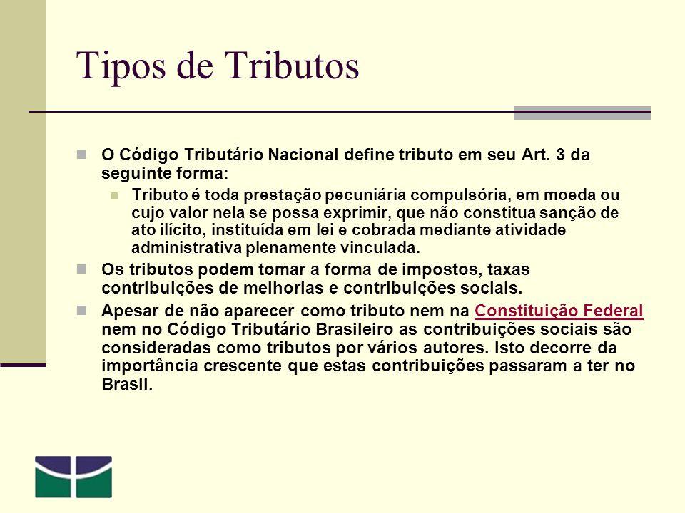 Tipos de Tributos O Código Tributário Nacional define tributo em seu Art.