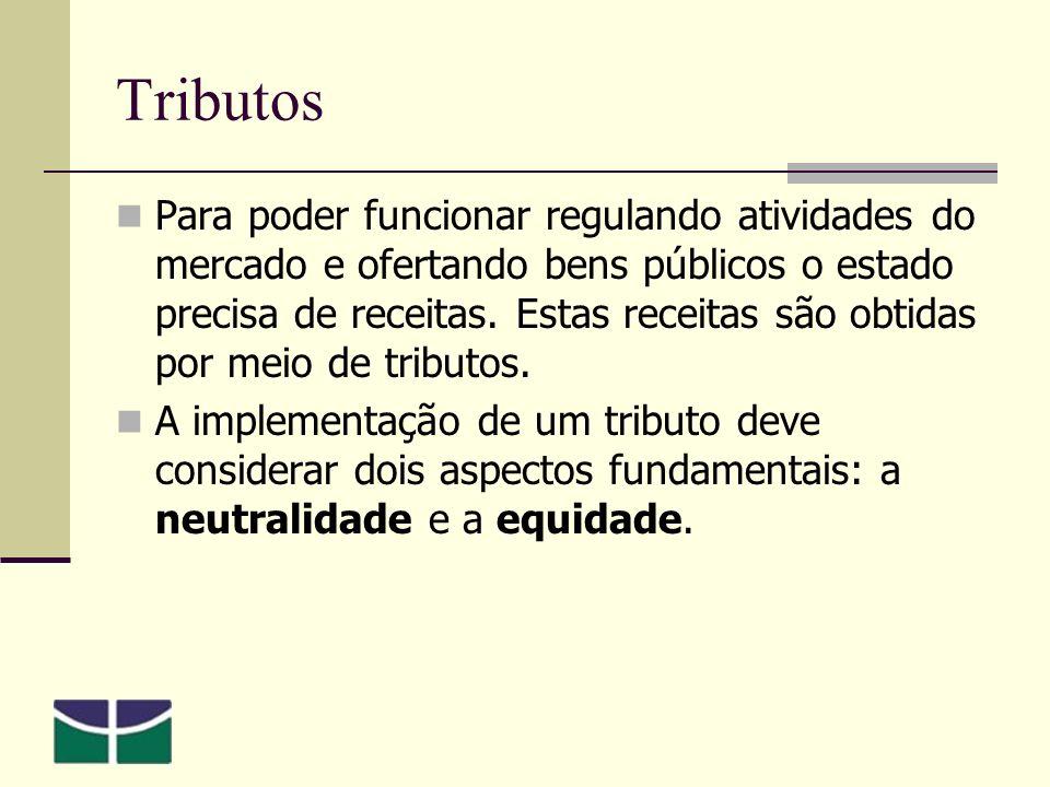 Tributos Para poder funcionar regulando atividades do mercado e ofertando bens públicos o estado precisa de receitas.