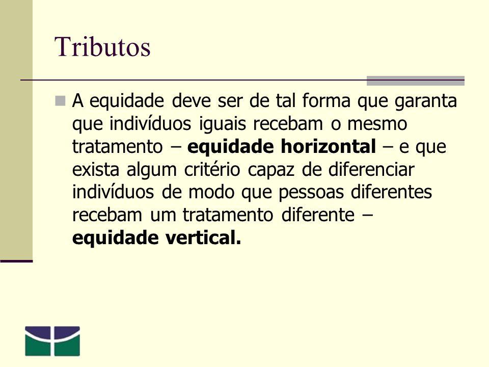 Tributos A equidade deve ser de tal forma que garanta que indivíduos iguais recebam o mesmo tratamento – equidade horizontal – e que exista algum critério capaz de diferenciar indivíduos de modo que pessoas diferentes recebam um tratamento diferente – equidade vertical.