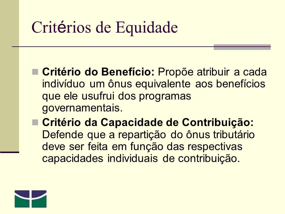 Crit é rios de Equidade Critério do Benefício: Propõe atribuir a cada indivíduo um ônus equivalente aos benefícios que ele usufrui dos programas governamentais.
