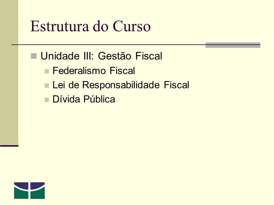 Estrutura do Curso Unidade III: Gestão Fiscal Federalismo Fiscal Lei de Responsabilidade Fiscal Dívida Pública