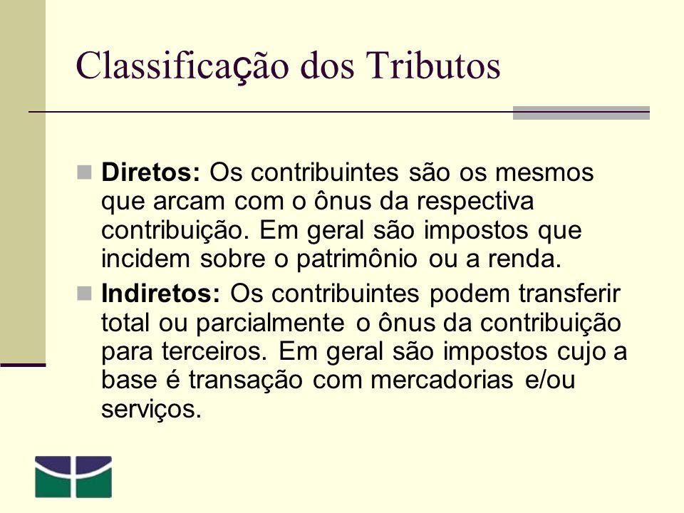 Classifica ç ão dos Tributos Diretos: Os contribuintes são os mesmos que arcam com o ônus da respectiva contribuição.