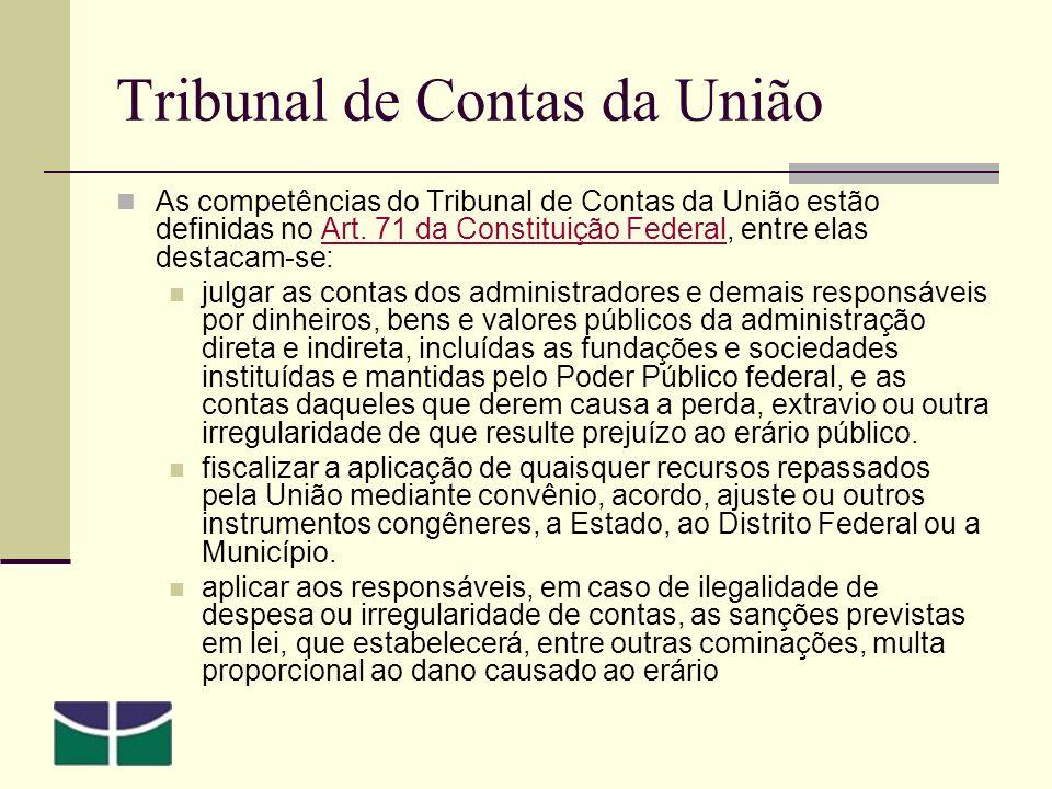 Tribunal de Contas da União As competências do Tribunal de Contas da União estão definidas no Art.