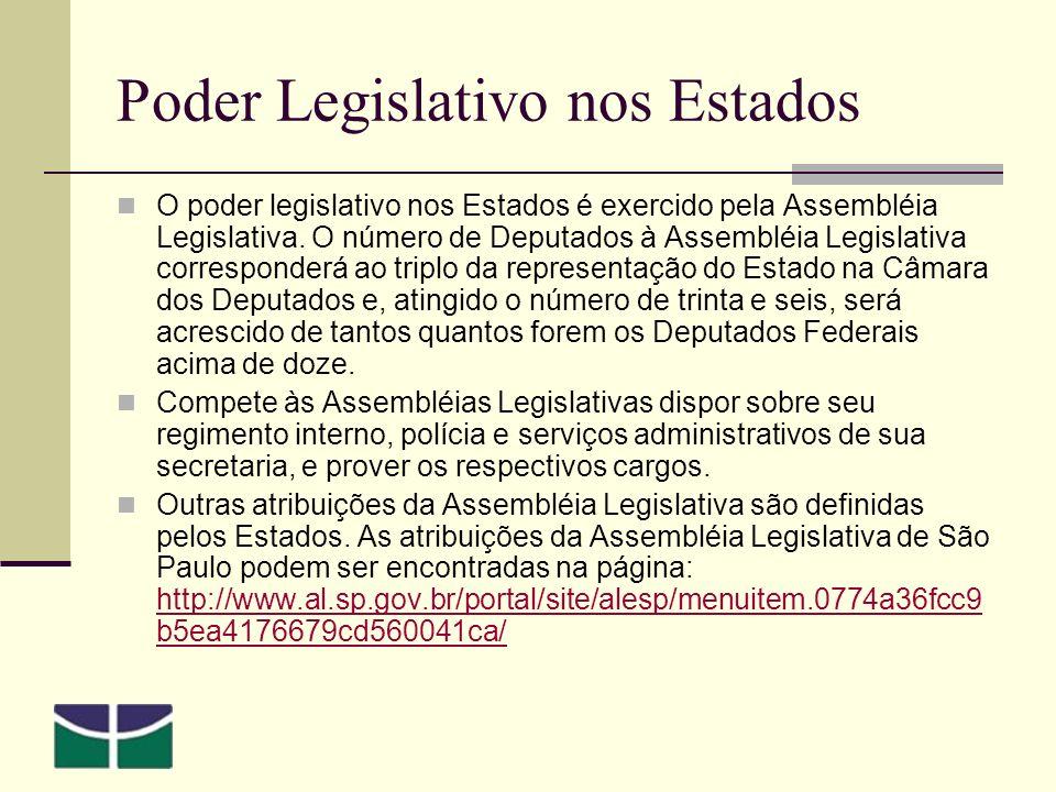 Poder Legislativo nos Estados O poder legislativo nos Estados é exercido pela Assembléia Legislativa.