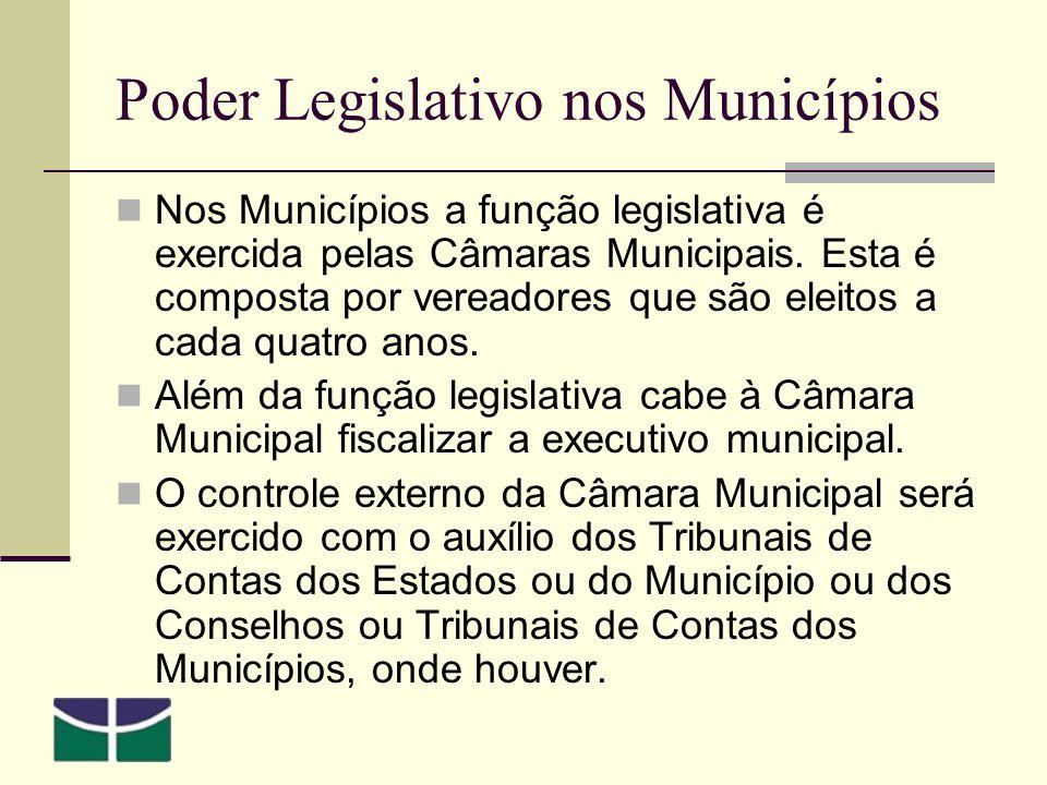 Poder Legislativo nos Municípios Nos Municípios a função legislativa é exercida pelas Câmaras Municipais.