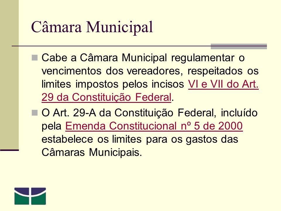 Câmara Municipal Cabe a Câmara Municipal regulamentar o vencimentos dos vereadores, respeitados os limites impostos pelos incisos VI e VII do Art.
