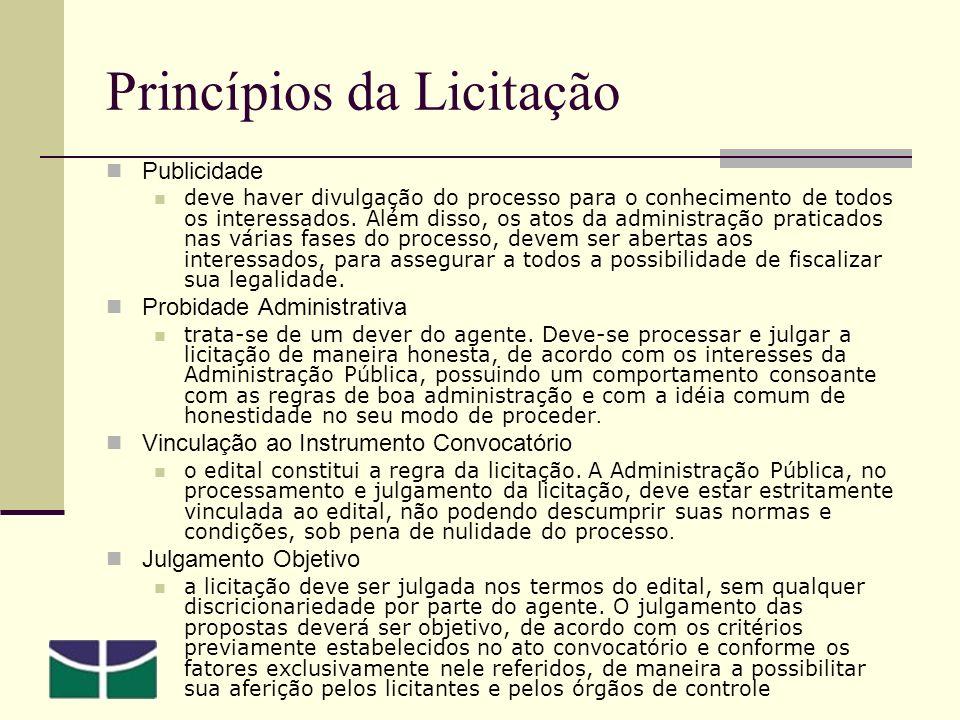 Princípios da Licitação Publicidade deve haver divulgação do processo para o conhecimento de todos os interessados.