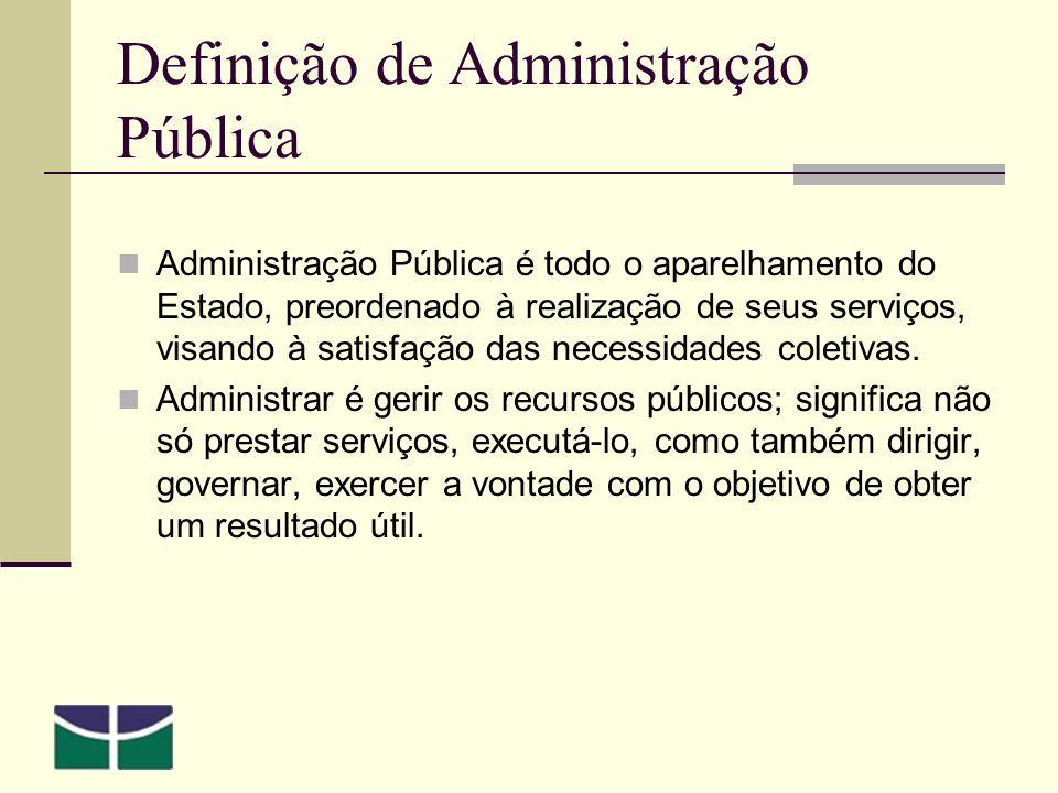 Definição de Administração Pública Administração Pública é todo o aparelhamento do Estado, preordenado à realização de seus serviços, visando à satisfação das necessidades coletivas.